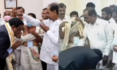 KCR giving blessing to Siddipet collector